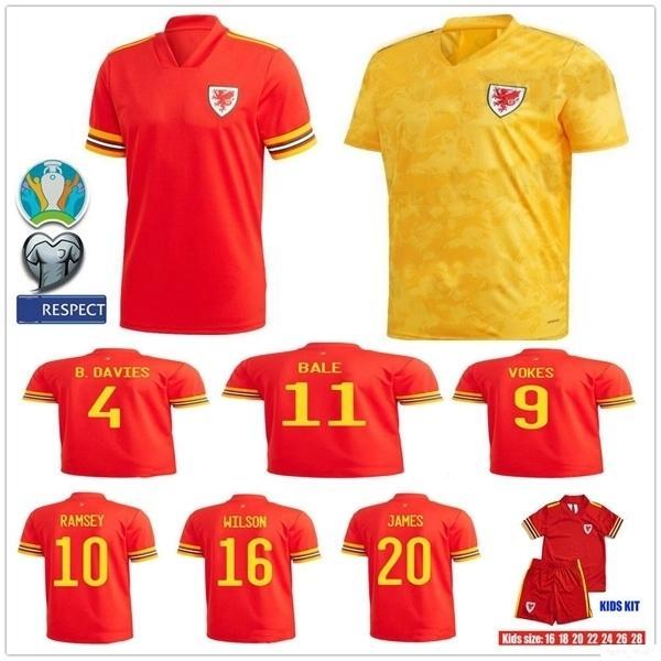 2019 2020 Уэльс футбол Джерси 11 BALE 10 RAMSEY VOKES ALLEN JAMES WILSON B.DAVIES Пользовательские Главная Красный взрослых Дети Молодежный футбол рубашка