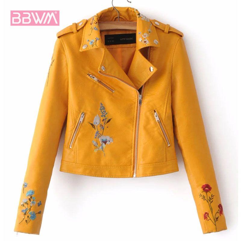 Ricamo femminile autunno nuova versione coreana del risvolto pelle PU locomotiva giacca bavero a maniche corte gialla rosa cappotto C1106