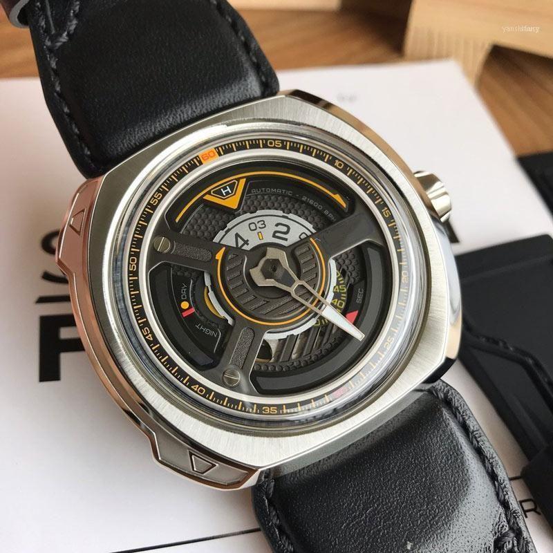 Homens assistem movimento automático 47 * 47mm relógios relógio relógio masculino relógio homens festa y-shaped wing design w1-111