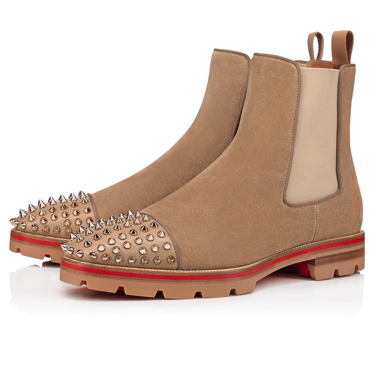Классический дизайн мужчин сапоги красные дна мужская лодыжка ботинок дыня шипы повседневная ботинок, тонкие кожаные туфли красные подошвы толстые выступы подошвы модные дыни
