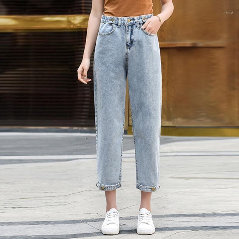 Mode Frauen Casual Lose Massivfarbhose Frau Jeans Hohe Taille Hose Knöchel -Länge Hose Pantalone Vaqueros Mujer # G21
