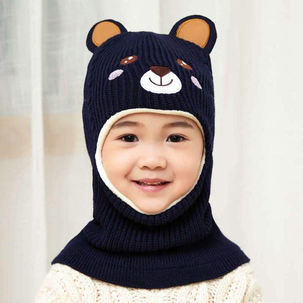Gorros gorros bordado bordado oso de punto Ciclismo gorra capucha frio sombrero casual otoño invierno sombreros cálidos para niños niños sombrero regalo