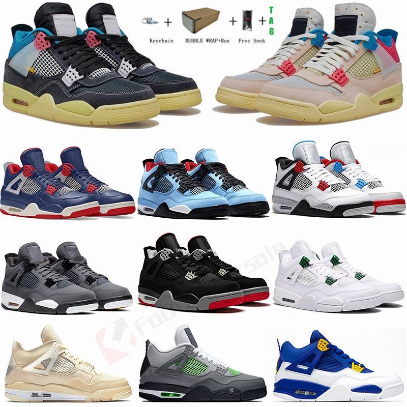 في سوق الأسهم مع صندوق Jumpman 4 الشراع صبار جاك نوير الجوافة الجليد المحيط العميق 4S أحذية الرجال لكرة السلة النيون القطة السوداء ما والمدربين أحذية رياضية