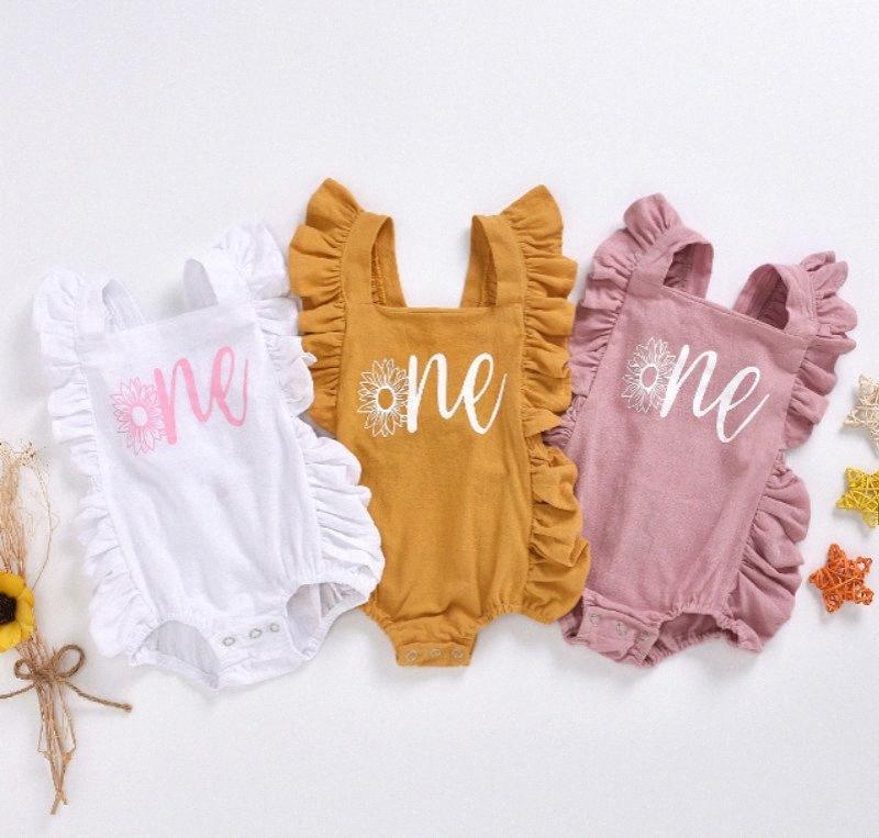 Abbigliamento bambino di estate neonato neonate Lettera Un fiore delle tute Sleeveless delle increspature apertura sul cavallo e pagliaccetto 0-24M JsUL #