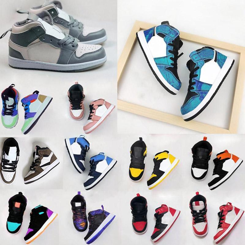 Infants 1s Toddler Basketball Shoes Kid Shoes Game Royal Scotts Obsidian Chicago Bred Sneakers Melody Mid Multi-Color Tie-Dye Kids Shoes