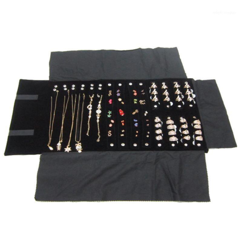 Ювелирные мешочки, сумки бархатные кольца рулоны сумка организатор портативные серьги хранение легкое ожерелье многофункциональный дисплей складной1