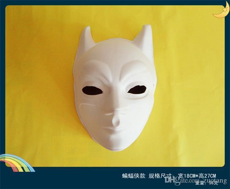 DIY Batman leere weiße Masken Umweltpapier Pulpe Hand Malerei Kunstprogramme für Maskerade Full Face 10pcs / lot
