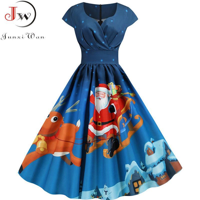Druck 2020 Weihnachtsmann-Weinlese-Frauen-elegante Weihnachtsfest-Kleid Robe Femme plus Größe 3XL Leger mit V-Ausschnitt Winter-Midi Vestidos