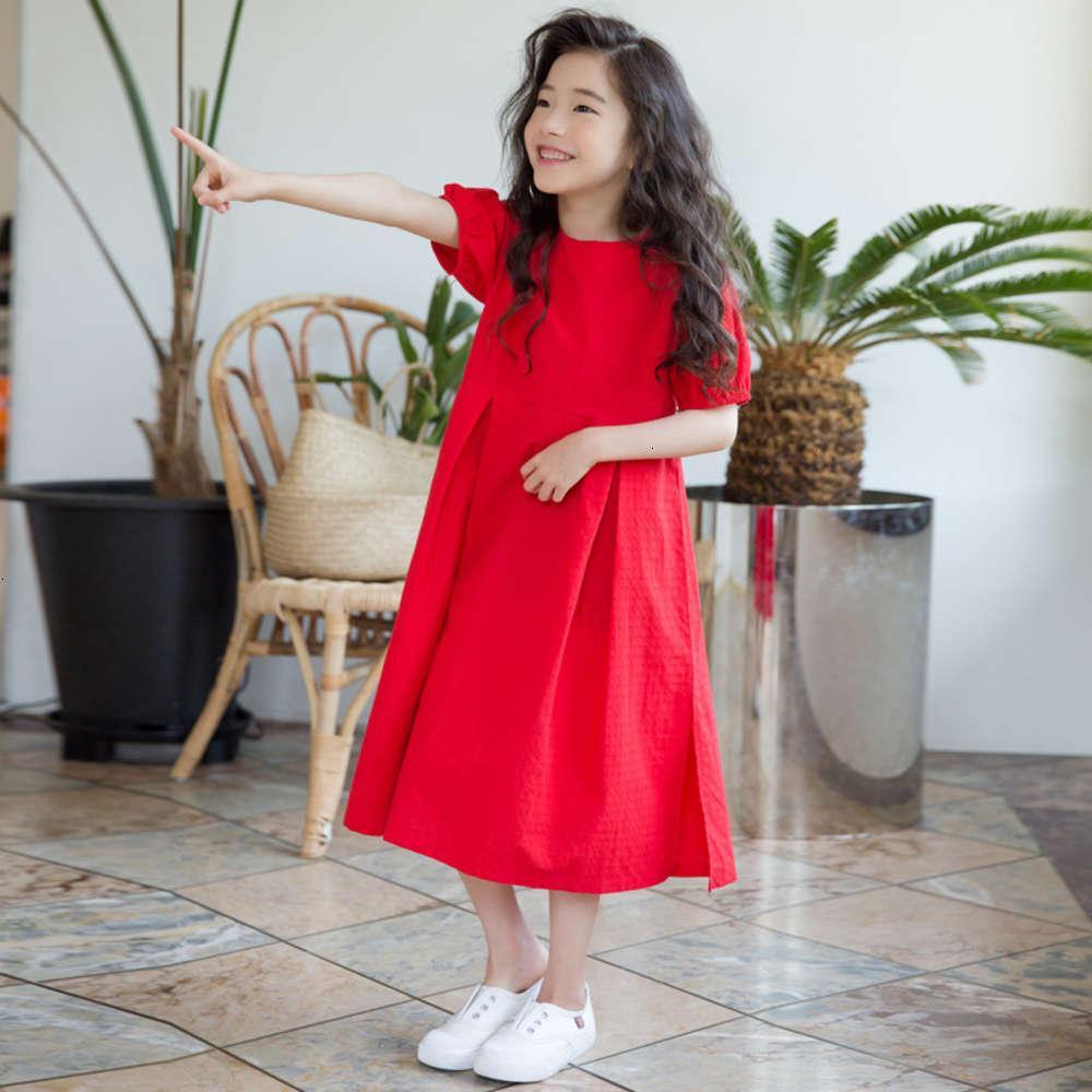 Red Holiday New algodón linterna coreana niña verano DRS falda infantil 6445