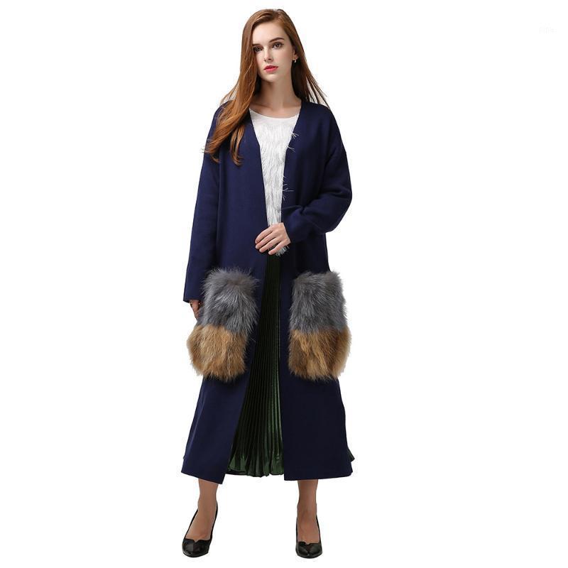 Automne Pochettes naturelles de fourrure naturelle longue Cardigan Trench Coat Femmes Camel bleu rouge élégant tissu de mode tricoté neuf Ja0010-dp1