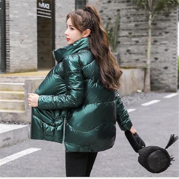 Inverno nuovo stile brillante Fronte delle donne colletto della giacca coreana giacche di cotone sciolti supporto shortbread imbottita parka