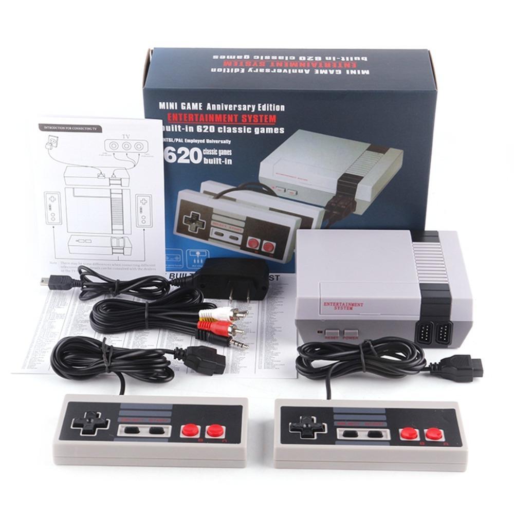 40 PCS 비디오 게임 콘솔 미니 NES 클래식 레트로 핸드 헬드 게임 콘솔 620 게임 오리지널 게임 패드 가족 어린이 장난감