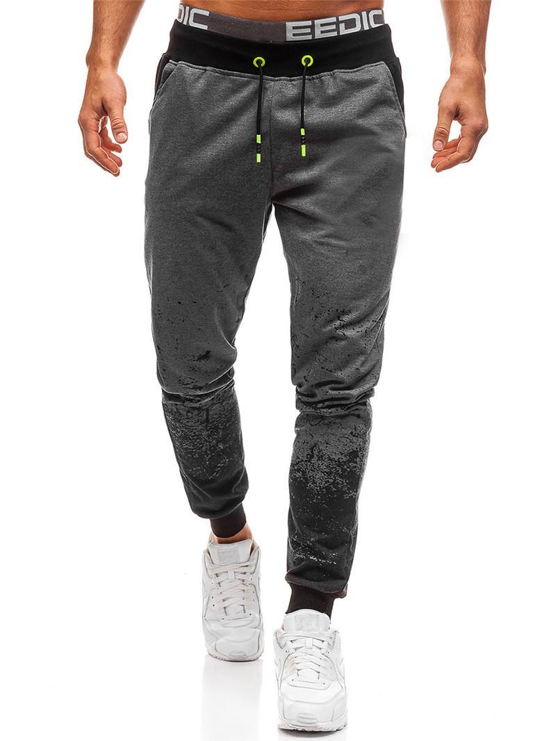 2021 Yeni Degrade Renk Erkek Uzun Pantolon İpli Elastik Bel Gevşek Nefes Moda Rahat Erkekler Giysileri