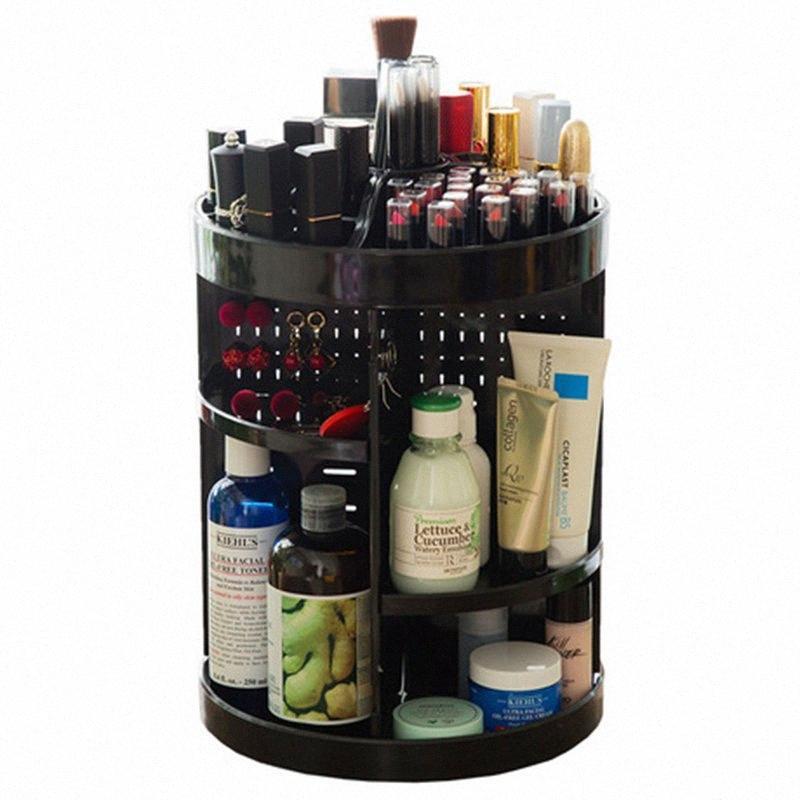 Косметика стойки ванной Органайзер стойки 360 Вращающийся Регулируемый макияж Organizer Полка для хранения Ящик для косметики Кисти Столешница JIxr #