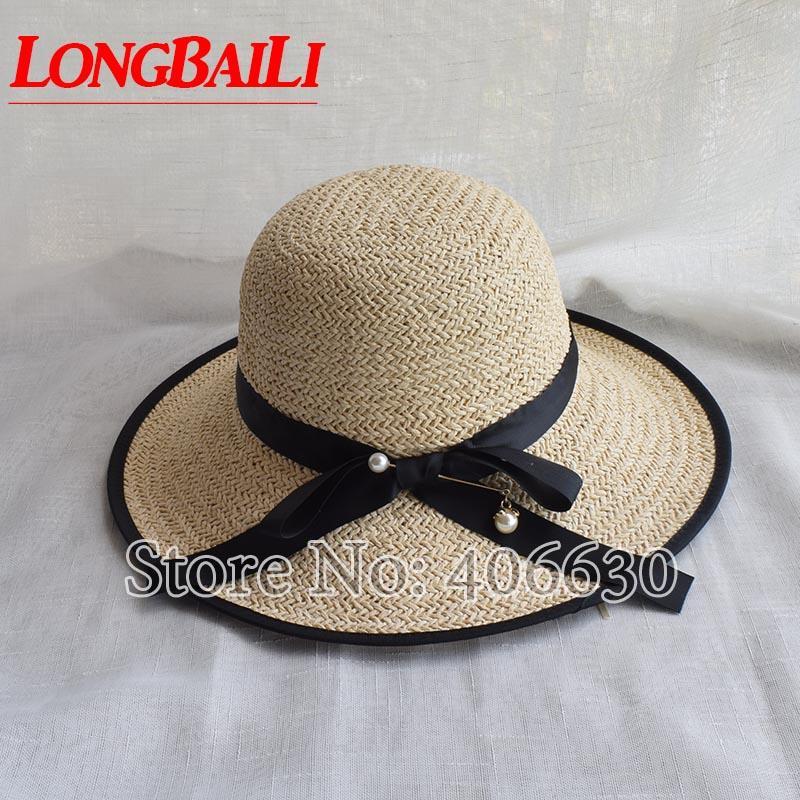 Manera del verano de paja sombreros de la playa para las mujeres del borde grande Sun sombreros Mujer Floppy SDDS028