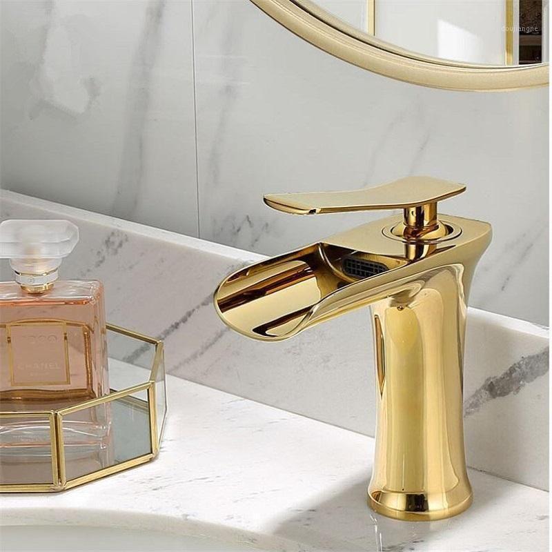 Waschbecken Wasserhahn Gold Wasserfall Wasserhahn Messing Badezimmer Weißes Badezimmer Becken Mischbatterie Heiß und kaltweiß Senke1