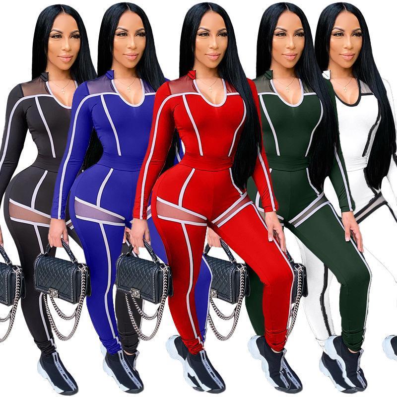 Recién llegados más tamaño mujeres otoño chándalsuits malla patchwork v-cuello camisetas cintura alta pantalones flacosos ocasionales Dos piezas conjuntos