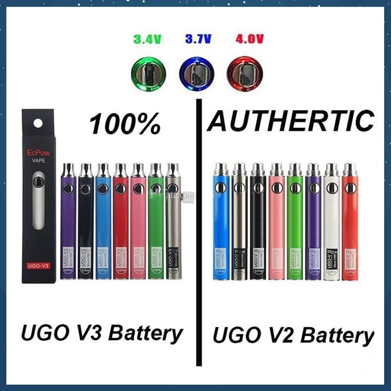 100% ursprünglicher EcPow UGO V2 V3 III Vaporizer Batterie vorheizen Variable Voltage 510 Gewinde EVOD EGO Micro-USB-Ladegerät Vape Pen