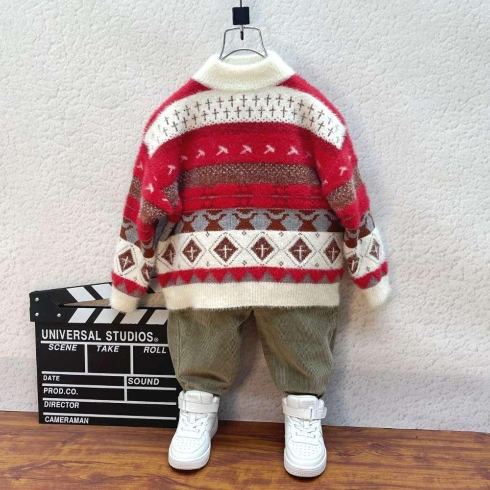 Vêtements enfants et vêtements automne hiver peluche épaissie pull de Noël épaissie
