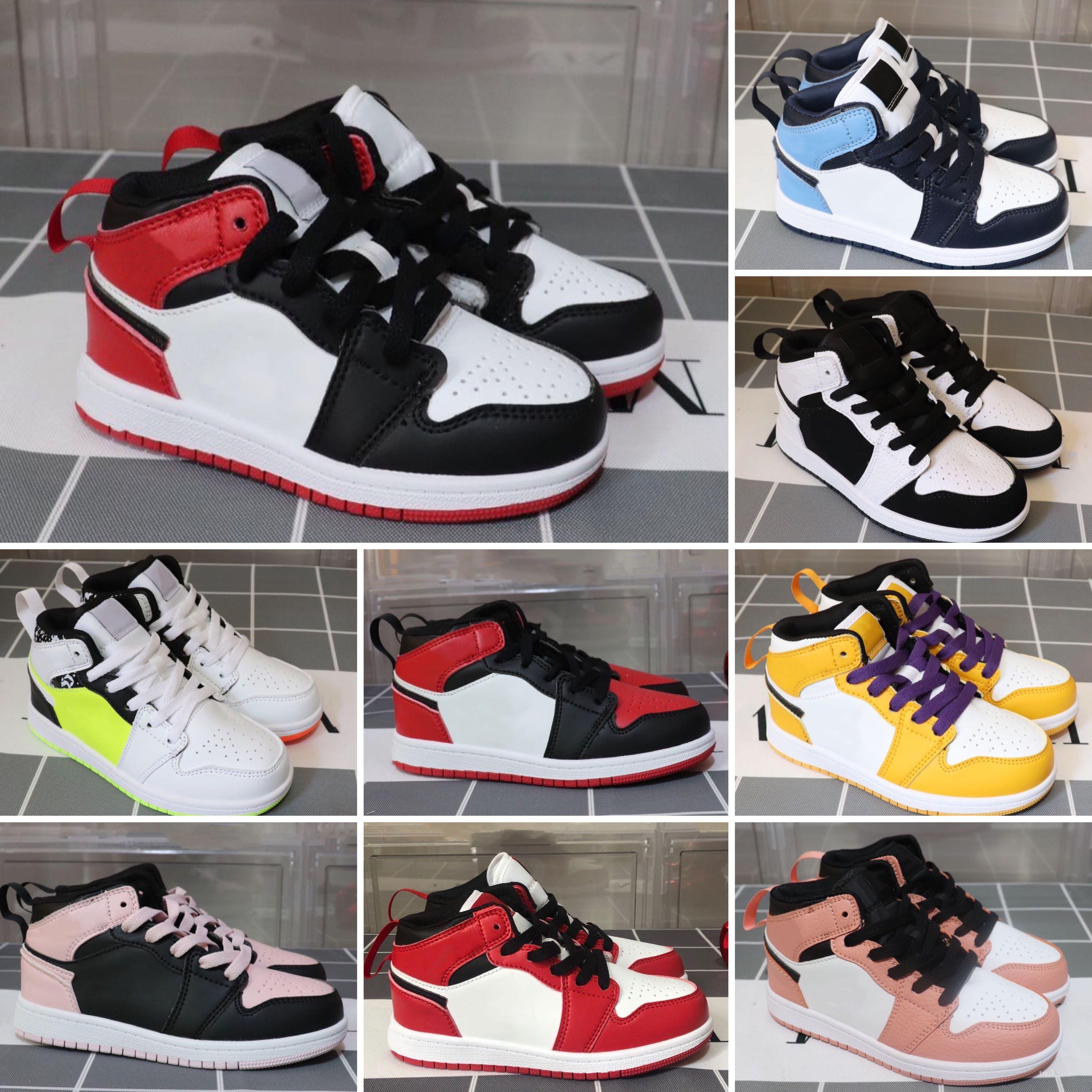 Cheap new 1 basketball shoes retro Wolf Grey Gamma blue black white red prom night kids jumpman sneakers tennis