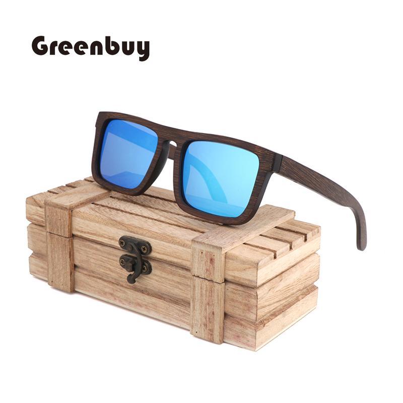 bambú natural de color marrón retro UV400 polarizado hombre mujer de alta calidad gafas de sol de diseñador de la marca glasse gafas de piloto