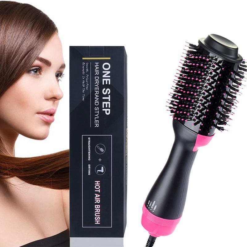Golpe profissional Secador da escova de escova de ar quente secador de cabelo e Volumizer Hot Comb Auto Rotating Cabelo Curler Straightener Comb