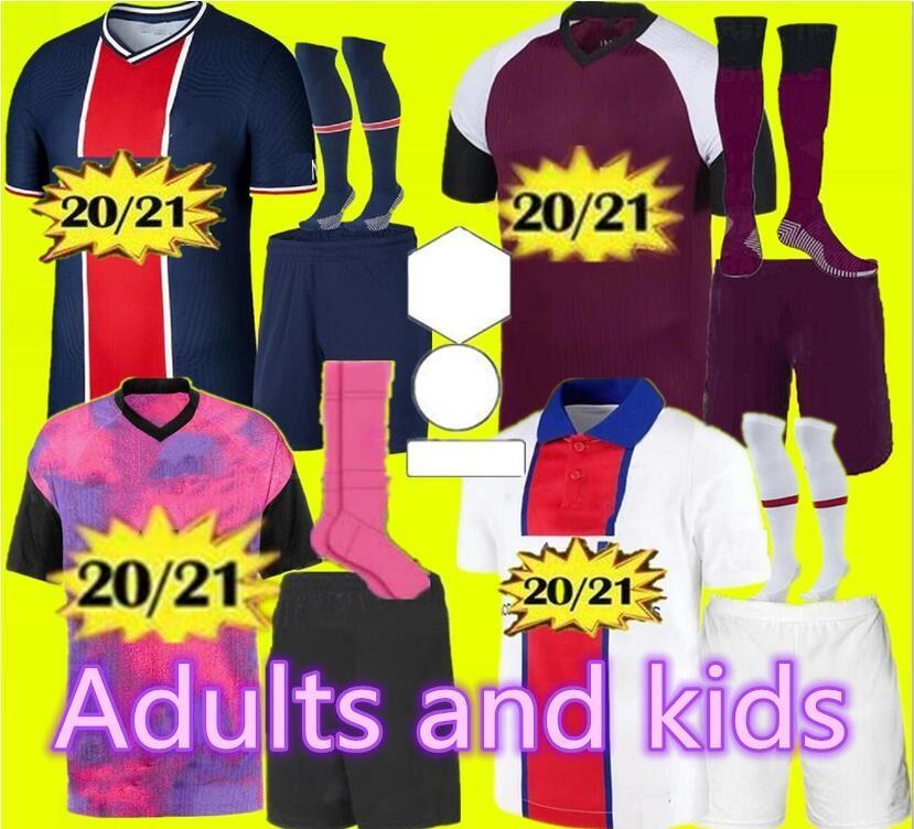 Yeni 2020 2021 Yetişkin ve çocuk kiti PSG & # 13; Jersey 2020 2021 mbappe VERRATTI CAVANI DI MARIA MAILLOT DE FOOT çocuk Paris çocuk futbol forması