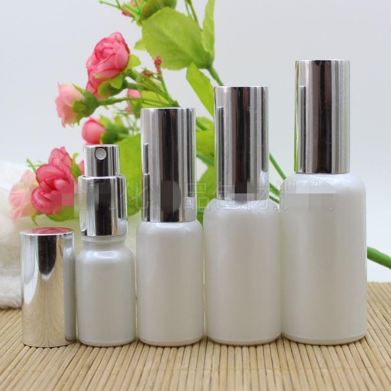 10 20 30 50ML İnci Beyaz Cam Sprey Şişe İnce Mist Atomizer Parfüm Parfüm Numune Flakon ile Gümüş Pompa Uçucu Yağlar Aromaterapi