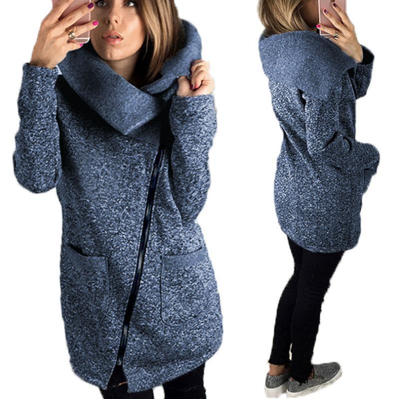Frauen-verursachender Mantel 2020 neue Herbst-Winter-Frauen Overcoat Female Mantel mit Kapuze Reißverschluss-Horn-Knopf Outwear Jacke Casaco Feminino