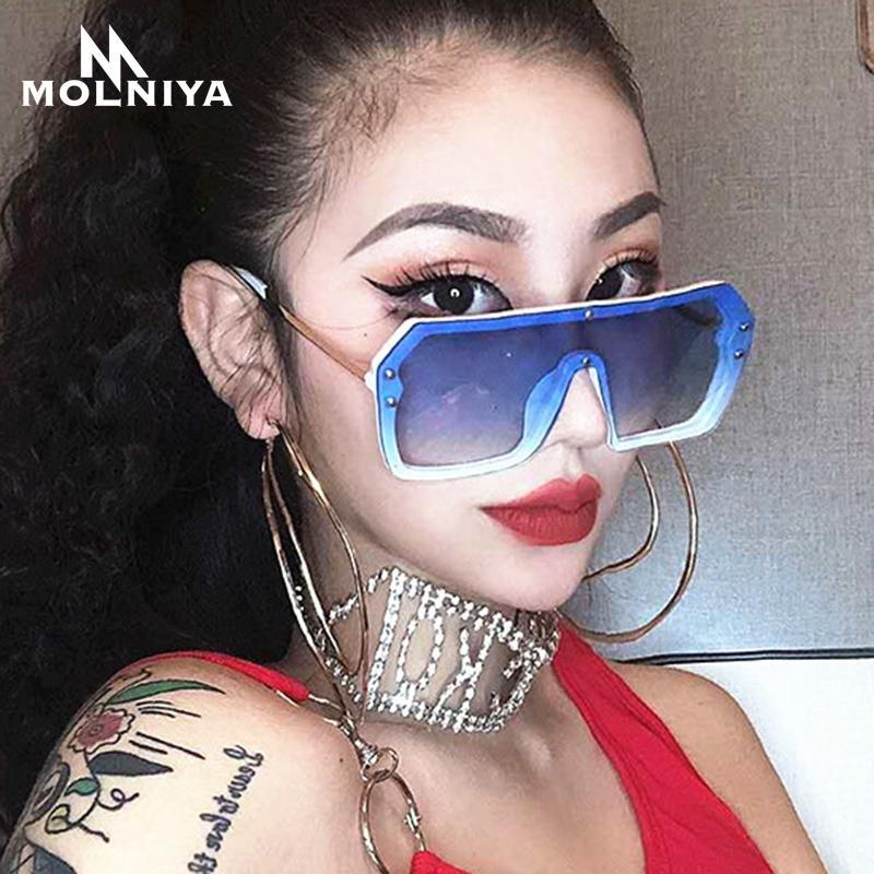 Azul Gafas Top One Oversized 2020 Nueva Pieza Nueva Piso Plaza Roja Siamese Claro Lente Sunglasses Moda Mujeres Hombres Vidrios Lnhpm