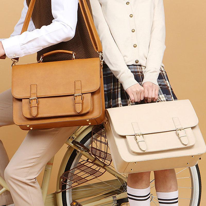 "2020 New Women British Handbag Business Briefcase Men 13.3"" Laptop Leather Schoolbag Male Shoulder Bag Textbook Bags Q0112"