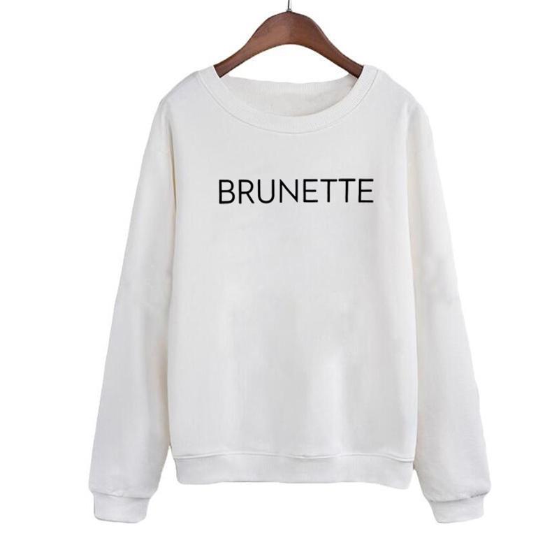 Lettres de mode Imprimer Crewneck Pullovers Automne Winter Fleece Sweats à capuche Brunette Harajuku Sweatshirt Vêtements Pour Femmes Y201006