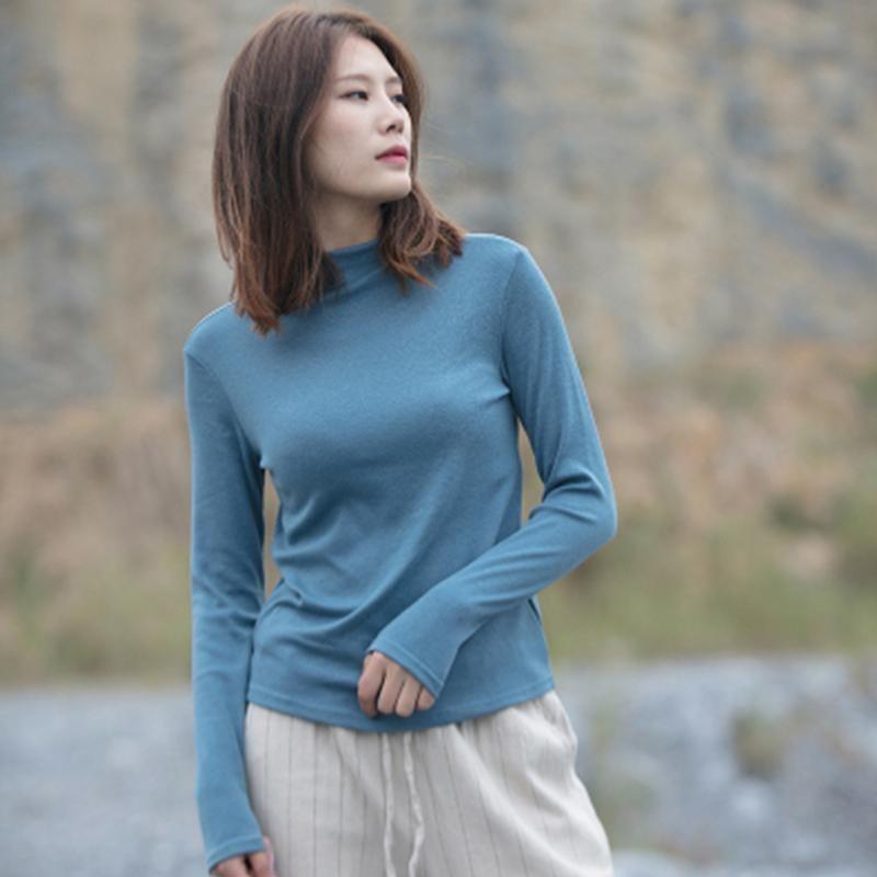 Women's Blouses & Shirts Basic Shirt Women Long Sleeve Blouse 2021 Spring Autumn Half Turtleneck Cotton Slim Undershirt