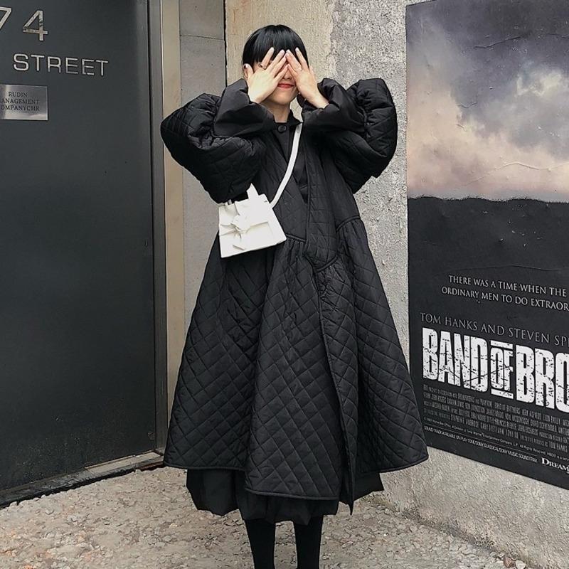 Shengpalee Black Coreano Giacche di modo Nuova V Colletto Mezza manica Allentata grande personalità Grande orlo Cappotto Donne JL103 Y201001