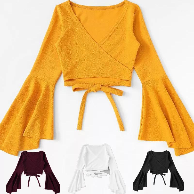 여성용 티셔츠 화이트 탑 노란색 자르기 티셔츠 탱크 여성 티셔츠 FEMM 붕대 ROPA 긴 소매 섹시한 캐주얼 Camiseta Mujer 티 블랙 Crop1