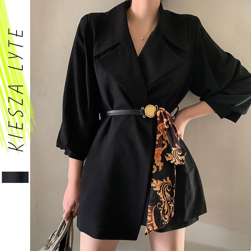 Veste de blazer rétro pour femmes imprimées Patchwork Ceinture Lanterne Sleeve Mince Blasers Noir Blazers Piste De La Dame Office Summer Outfit X1214