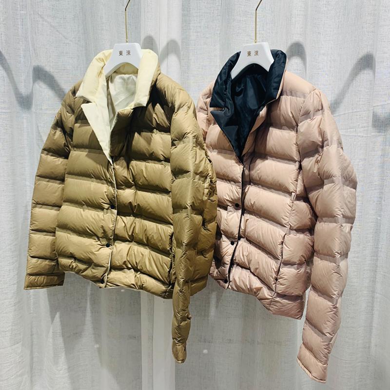 2020 New Autumn Winter Jacket Women Ultra Light White Duck Jackets Casual Double Side Short Female Down Coats Outwear
