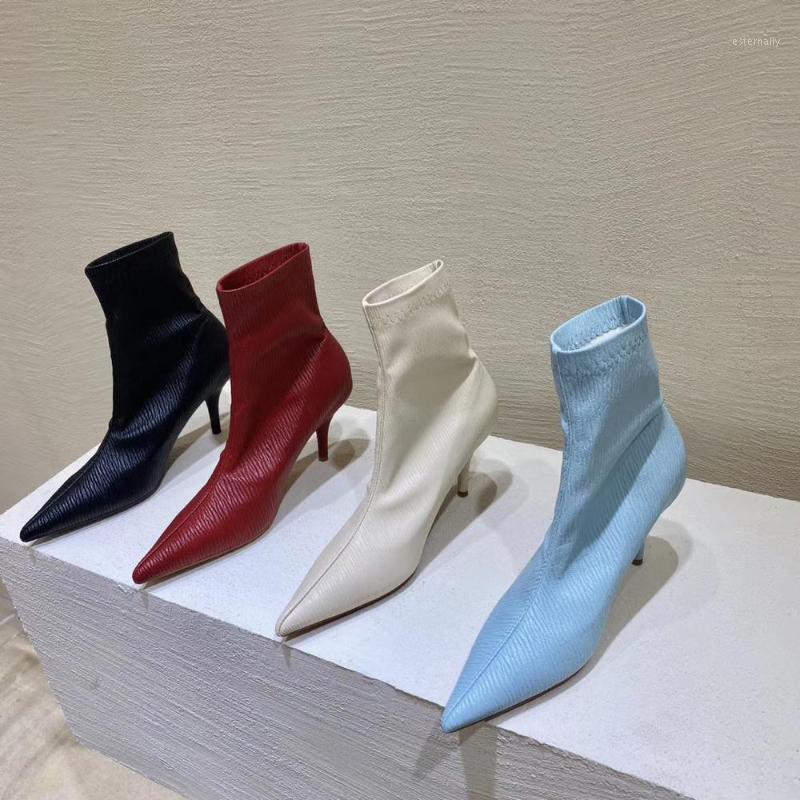 الأحذية أشار تو أزياء المرأة جورب الخريف الانزلاق على رقيقة عالية الكعب الصنادل الجوارب الكاحل قصيرة بلون مثير مضخات الأحذية 1