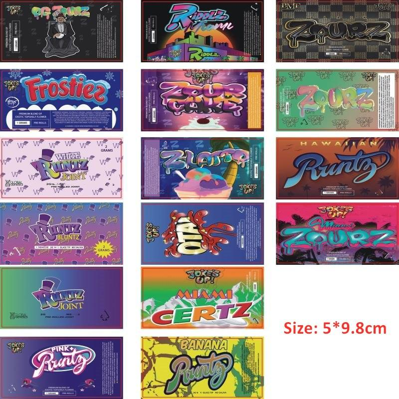 Adesivi per imballaggio Preroll per PRE ROLLS 18 * 116mm 18 * 120mm Rreroll Tubi Etichette 5 * 9.8 cm Forstiez Zour Cake Runtz Joint Joint Miami Zourz Bag