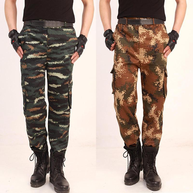 Мода Мужчины Брюки Камуфляж армии Denim брюки Тонкий Большой карман Грузовой карандаш штаны Man Hip Hop Байкер Joggers HOMBRE