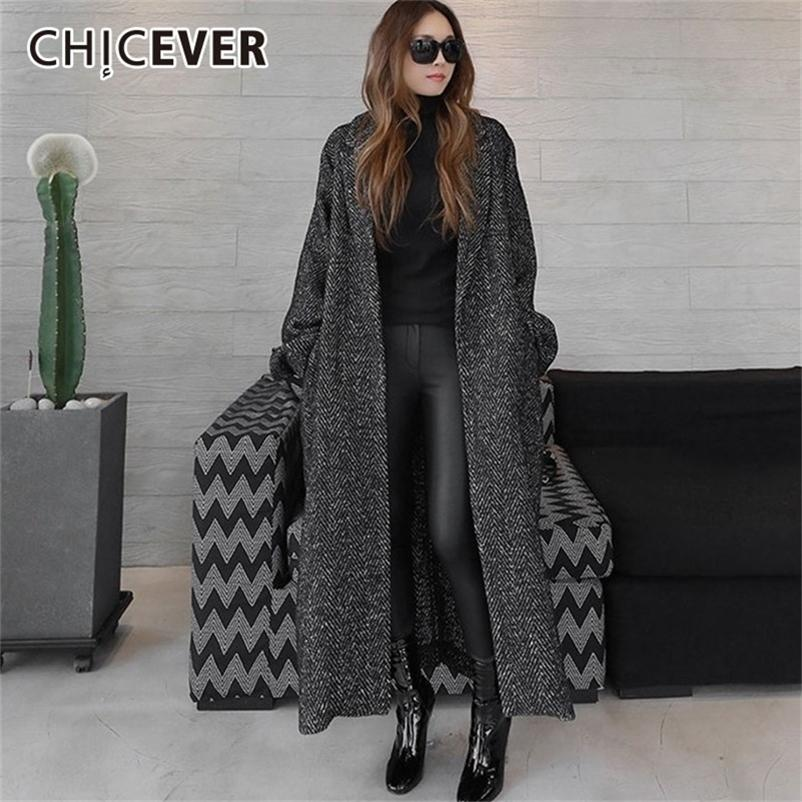 CHICEVER Autumn Winter Women's Coats Female Jackets Lapel Long Sleeve Loose Oversize Black Lace Up Coat Fashion Casual Clothes 201211