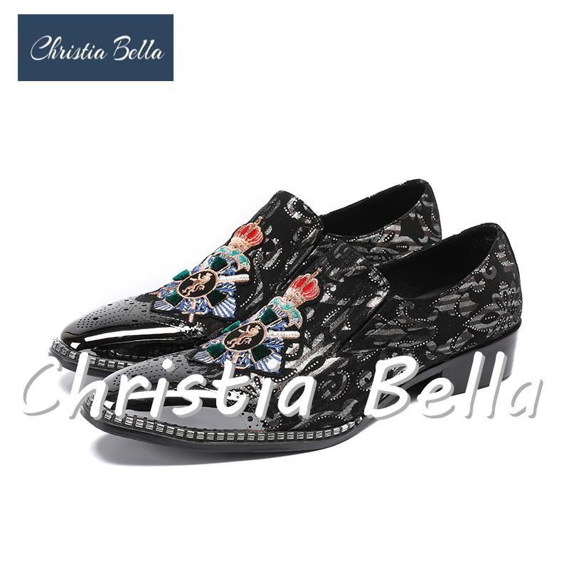 Christia Bella Printing Herren Schuhe Luxusmode Herren Loafer Herren Wohnungen mit Handstich Bullion Stickerei Partei männlich Loafers