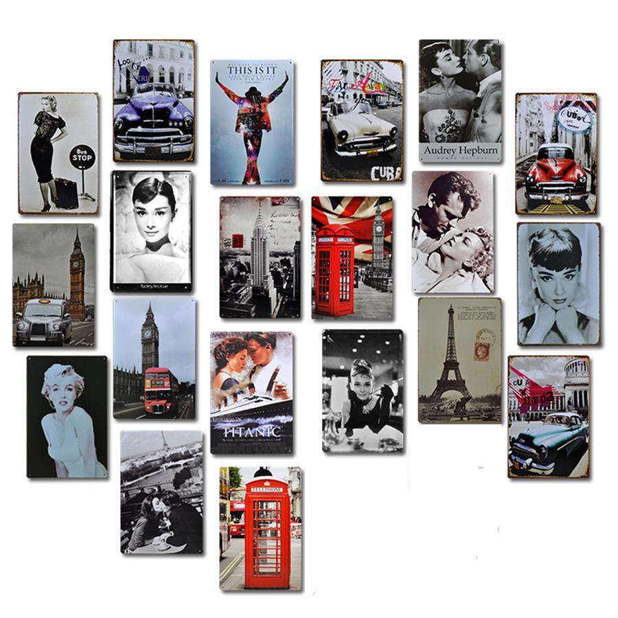 Velho filme Metal Poster Placa Arte Da Parede Retro Decoração Metal Lata Sinal Para Bar Bar Pub Clube Homem Caverna Ferro Pintura JK2006KD