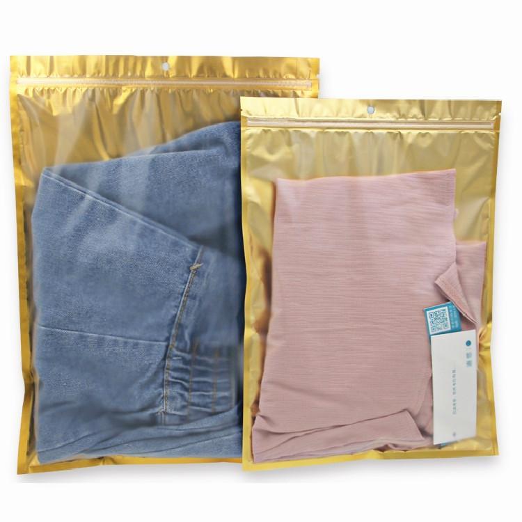 50pcs One Side plástico transparente ouro Ziplock Bag translúcido PE Hanging Embalagem fio Roupa Saco de dados Disk Bag