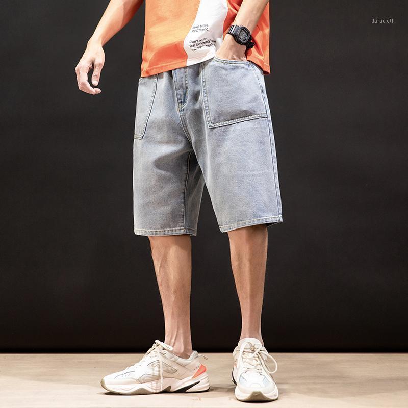 Mens Shorts Massivfarbe einfach plus Größe Jeans Shorts Männer Mode Wild Denim Blue Fünf-Punkt-Hosen Sommer Neue Ankunft1