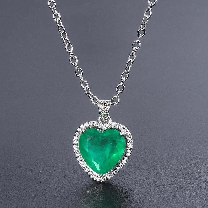 Айяниши 925 Стерлинговое серебро Moissanite 12x12mm Paraiba Tourmaline Gemstone Diamonds Подвеска Ожерелье изысканные украшения Оптом