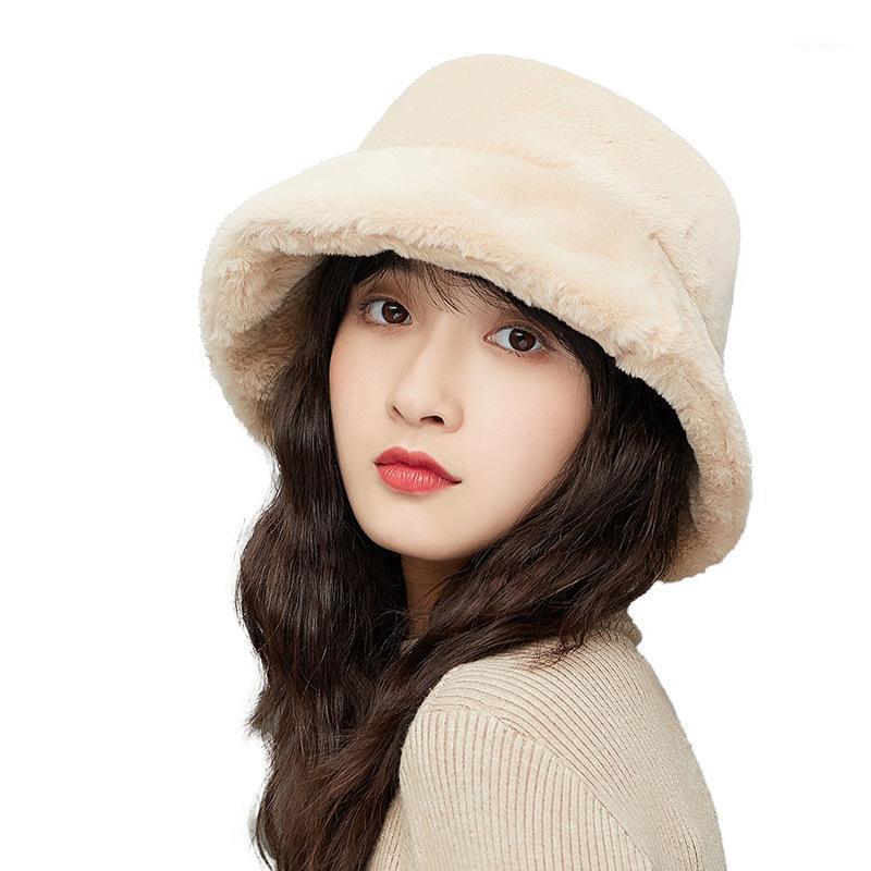 القبعات الصياد قبعة السيدات الخريف والشتاء أفخم حوض الكورية عارضة الأزياء سميكة الفراء الدافئة مصنع مخصص بالجملة 1