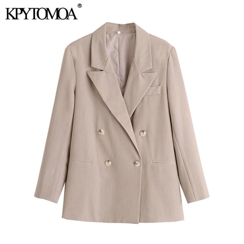 Kpyomoa donne moda ufficio indossare doppio petto blazer cappotto vintage manica lunga tasche a maniche lunghe femmina tuta sportiva chic tops y201026