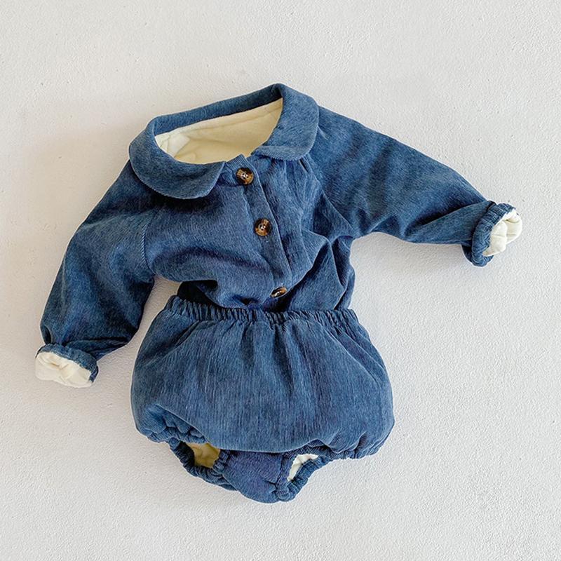 Kış Kalınlaşmak Sıcak Bebek Kız Erkek Giyim Seti Bebek Pamuklu Örme Hırka Coat Ve Şort Yenidoğan Bebek Giyim Seti Kıyafetler 1021