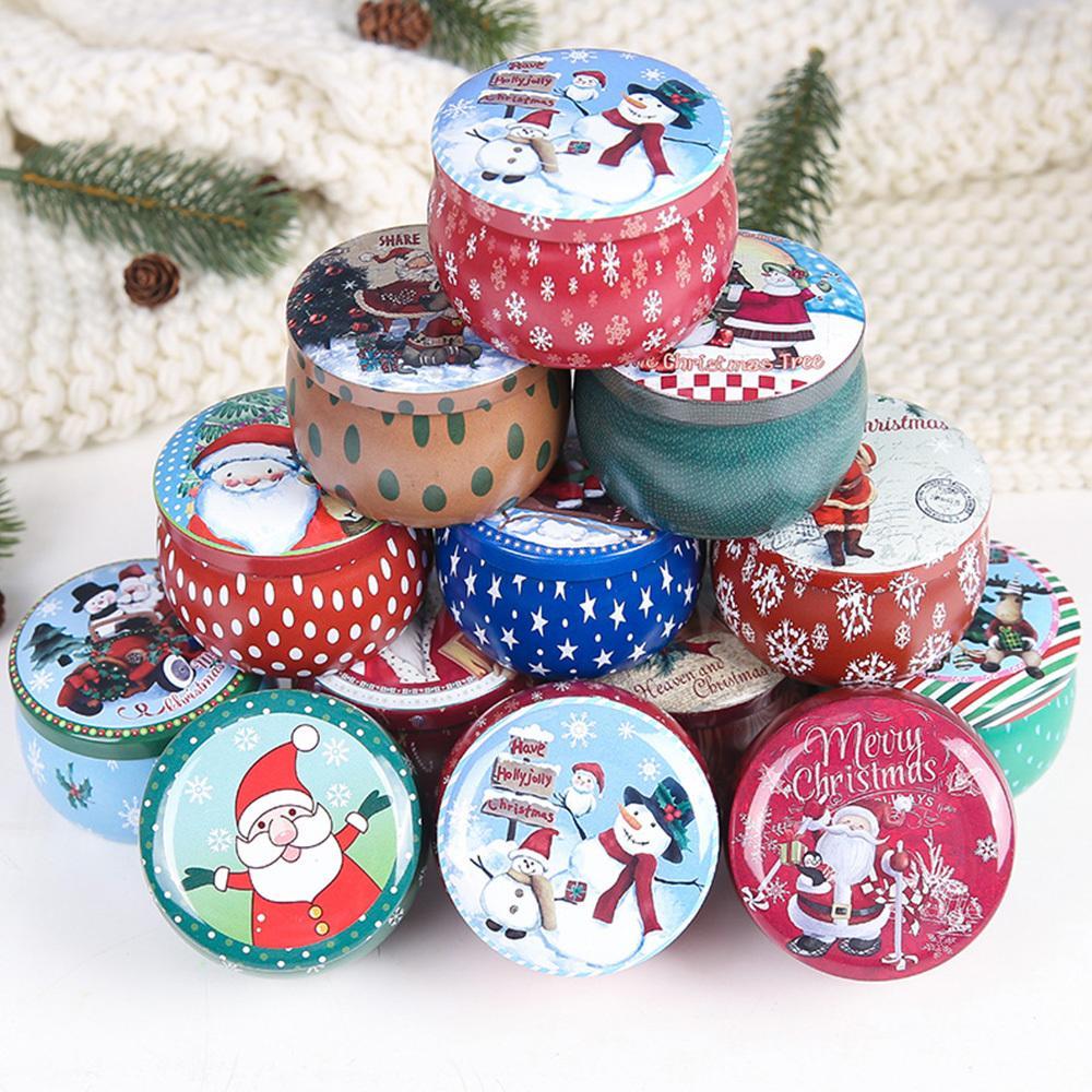 Latas 12PCS de Natal doces Tinplate Gift Box caixa de armazenamento Biscuit Jar ferro pode Presente de Natal Biscoito Tins 201006